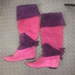 Italian Leather Boot foldover pink thigh high flat